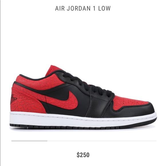new products 98791 c719c Air Jordan 1 Low – Black – Red Elephant Print